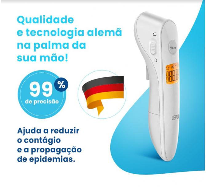 Kit Termômetro Digital Infravermelho + Oxímetro de Pulso na Ponta dos Dedos Portátil + Brinde 05 Máscaras de Tecido