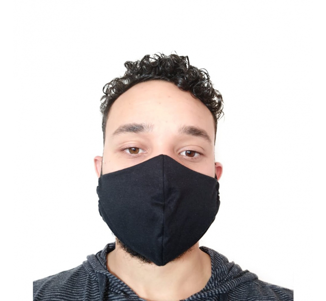 Máscara Tecido Modelo Cor Preta - BCMED
